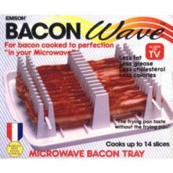 Bacon Wave, $11.95, Bacon cooked to perfection in your microwave, for the frying pan taste without the frying pan, or the grease! Make bacon healthier