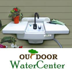 Outdoor Sink & Workstation, $77.95, Bring the kitchen sink to your garden! Our convenient outdoor wall sink is perfect for cleaning garden tools, washing freshly picked vegetables, or repotting plants. Fold the faucet down and slide the shelves together for a big 25 1/2