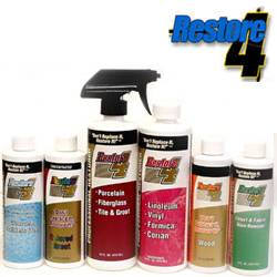 Restore 4 Kit, $26.95, Restore 4 breathes new life into fiberglass, porcelain, terrazzo, ceramic tile and grout. Will effectively penetrate and dissolve hard water stains, rust, calcium buildup, limescale, soap film and dirt